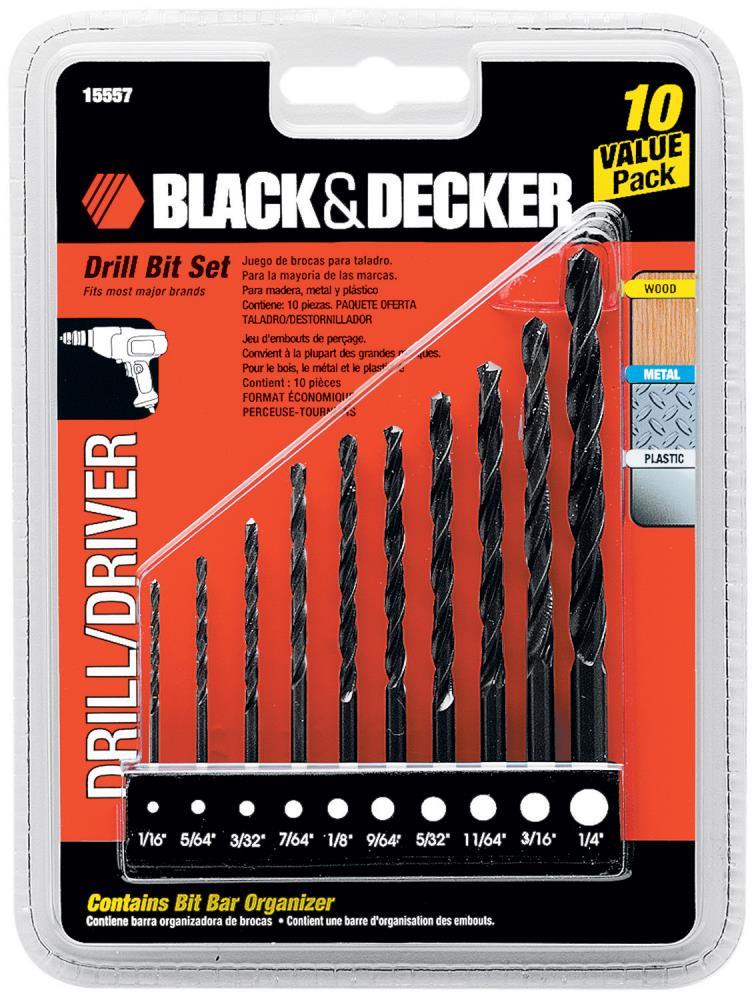 Black Amp Decker 10 Pc Drill Bit Set Tools Power Tool
