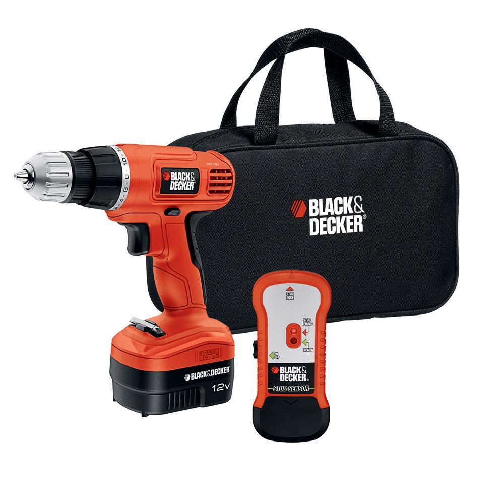 Black & Decker 12 V Drill/Driver with Stud Sensor and Storage Bag